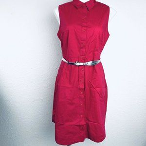 Roz & Ali Pink Belted Women Dress. Size 14P. New W